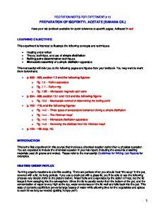 PREPARATION OF ISOPENTYL ACETATE (BANANA OIL)