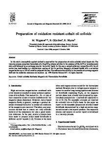 Preparation of oxidation resistant cobalt oil colloids