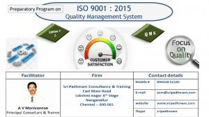 Preparatory Program on. ISO 9001 : 2015 Quality Management System