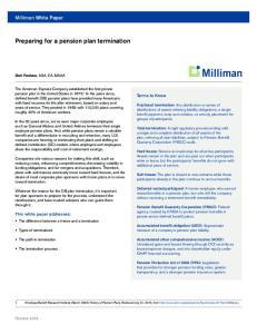 Preparing for a pension plan termination