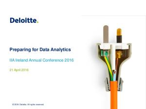 Preparing for Data Analytics