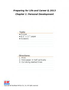 Preparing for Life and Career 2013 Chapter 1: Personal Development