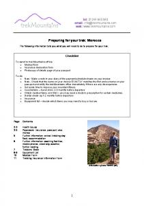 Preparing for your trek: Morocco