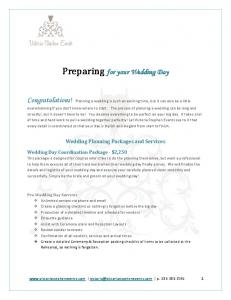 Preparing for your Wedding Day