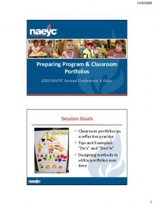 Preparing Program & Classroom Portfolios
