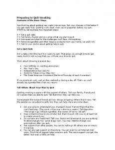 Preparing to Quit Smoking Overview of the Basic Steps