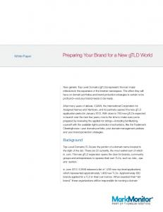 Preparing Your Brand for a New gtld World
