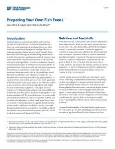 Preparing Your Own Fish Feeds 1