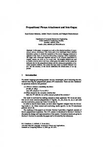 Prepositional Phrase Attachment and Interlingua