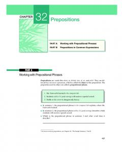 Prepositions. Working with Prepositional Phrases CHAPTER PART A. Prepositions in Common Expressions