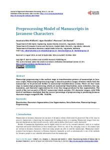 Preprocessing Model of Manuscripts in Javanese Characters