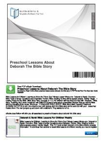 Preschool Lessons About Deborah The Bible Story