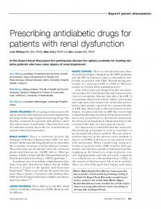 Prescribing antidiabetic drugs for patients with renal dysfunction
