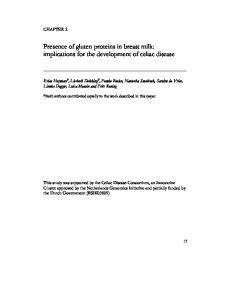 Presence of gluten proteins in breast milk: implications for the development of celiac disease