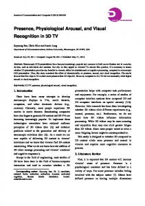 Presence, Physiological Arousal, and Visual Recognition in 3D TV