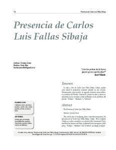 Presencia de Carlos Luis Fallas Sibaja