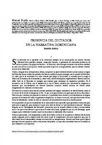 PRESENCIA DEL DICTADOR EN LA NARRATIVA DOMINICANA