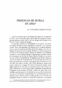 PRESENCIAS DE SEVILLA EN LIMA*