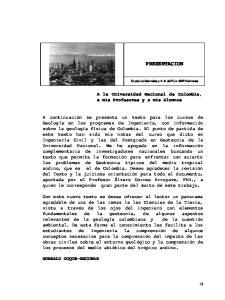 PRESENTACION. A la Universidad Nacional de Colombia, a mis Profesores y a mis Alumnos