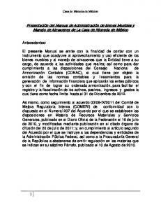 Presentación del Manual de Administración de Bienes Muebles y Manejo de Almacenes de La Casa de Moneda de México