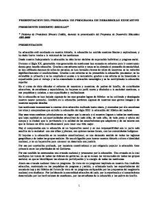 PRESENTACION DEL PROGRAMA DE PROGRAMA DE DESARROLLO EDUCATIVO