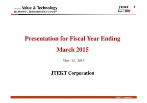 Presentation for Fiscal Year Ending March 2015