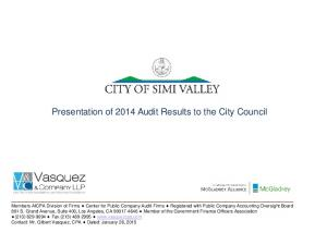 Presentation of 2014 Audit Results to the City Council