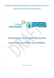 Presentation to the Joint Oireachtas Committee on Health and Children