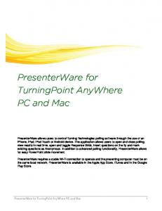PresenterWare for TurningPoint AnyWhere PC and Mac