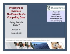 Presenting to Investors: The Elements of a Compelling Case
