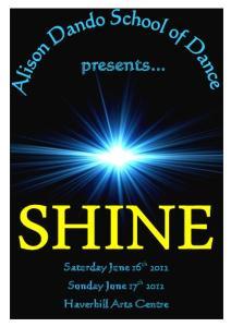 presents... Saturday June 16 th 2012 Sunday June 17 th 2012 Haverhill Arts Centre