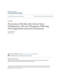 Preservation of Fertility after Uterine Artery Embolization: A Review of Pregnancy Following Non-Surgical Intervention for Leiomyoma