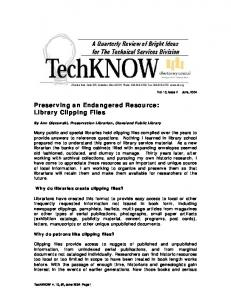 Preserving an Endangered Resource: Library Clipping Files