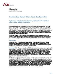 President-Elect Obama s National Health Care Reform Plan