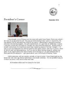 President s Corner November 2016