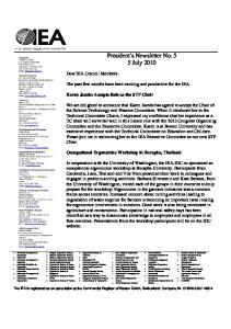 President s Newsletter No. 5 5 July 2010