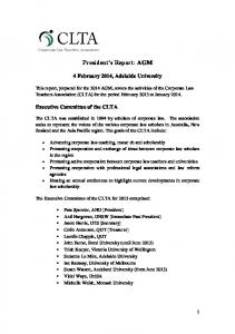 President s Report: AGM