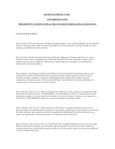 PRESIDENTE CONSTITUCIONAL DEL ESTADO PLURINACIONAL DE BOLIVIA