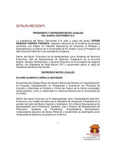 PRESIDENTE Y REPRESENTANTES LEGALES DEL BANCO DAVIVIENDA S.A