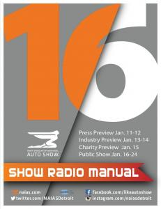 Press Preview Jan Industry Preview Jan Charity Preview Jan. 15 Public Show Jan Show RADIO Manual. facebook