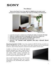 Press Release BRAVIA S9000B