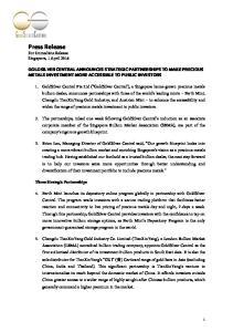 Press Release For Immediate Release Singapore, 1 April 2016