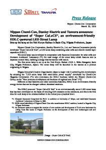 Press Release. Nippon Chemi-Con Corporation March 30, 2010