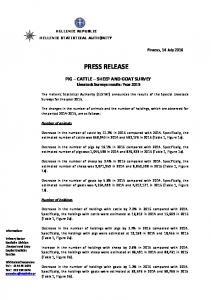 PRESS RELEASE. PIG CATTLE SHEEP AND GOAT SURVEY Livestock Surveys results: Year 2015