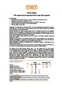 Press release TNT reports fourth quarter and full year 2015 results