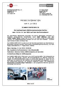 PRESSEINFORMATION. vom 4. Juni 2015 CLASSIC DAYS BERLIN