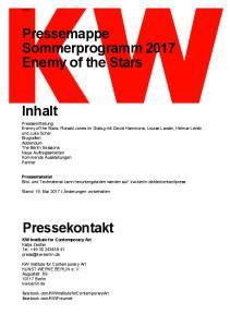 Pressemappe Sommerprogramm 2017 Enemy of the Stars