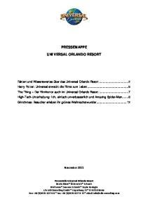 PRESSEMAPPE UNIVERSAL ORLANDO RESORT