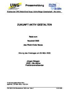 Pressemeldung ZUKUNFT AKTIV GESTALTEN
