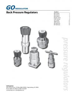 pressure regulators Back Pressure Regulators